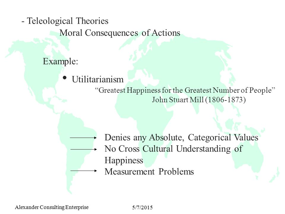 Alexander Consulting Enterprise 5/7/2015 - Teleological Theories Moral Consequences of Actions Example:  Utilitarianism Greatest Happiness for the Greatest Number of People John Stuart Mill (1806-1873) Denies any Absolute, Categorical Values No Cross Cultural Understanding of Happiness Measurement Problems