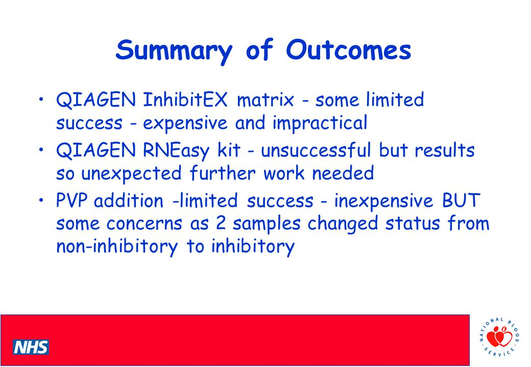 PCS Conference Summary of Outcomes QIAGEN InhibitEX matrix - some limited success - expensive and impractical QIAGEN RNEasy kit - unsuccessful but results so unexpected further work needed PVP addition -limited success - inexpensive BUT some concerns as 2 samples changed status from non-inhibitory to inhibitory