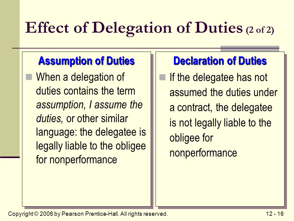 12 - 16Copyright © 2006 by Pearson Prentice-Hall. All rights reserved. Effect of Delegation of Duties (2 of 2) Assumption of Duties When a delegation