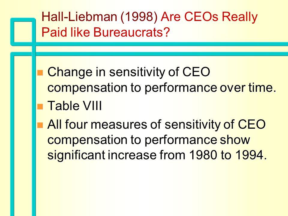 Hall-Liebman (1998) Are CEOs Really Paid like Bureaucrats.
