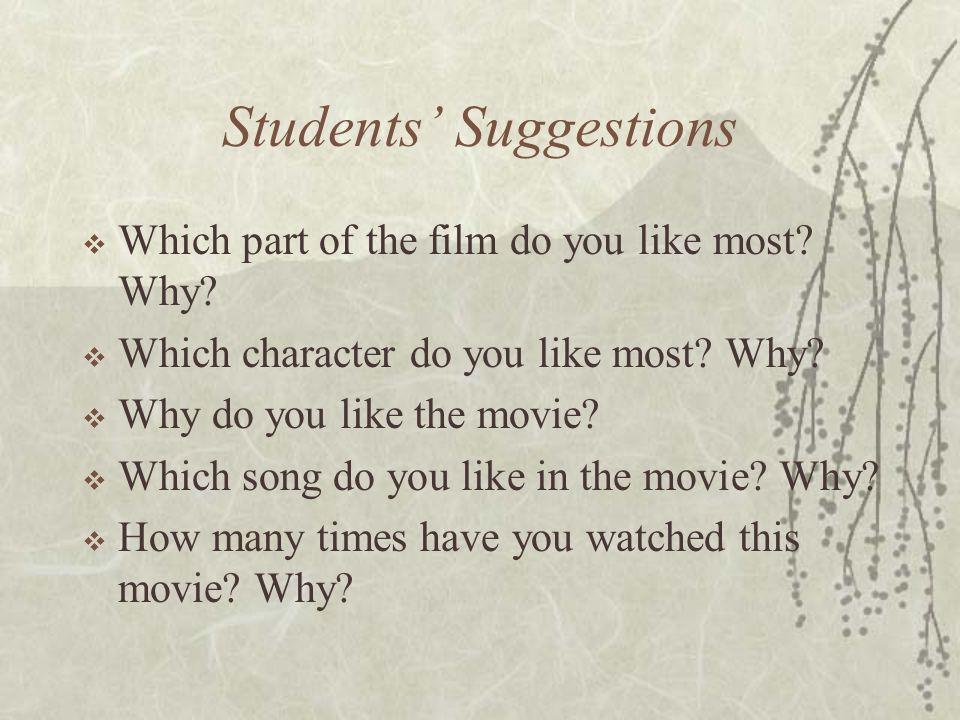 Students' Suggestions  Which part of the film do you like most.