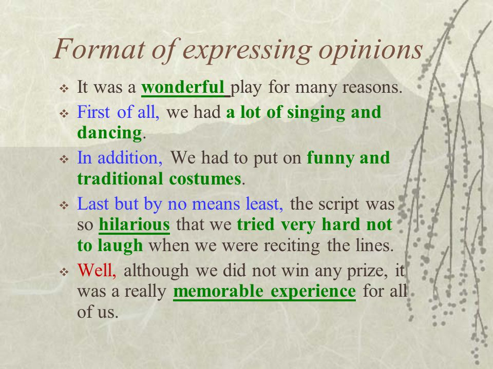 Format of expressing opinions  It was a wonderful play for many reasons.