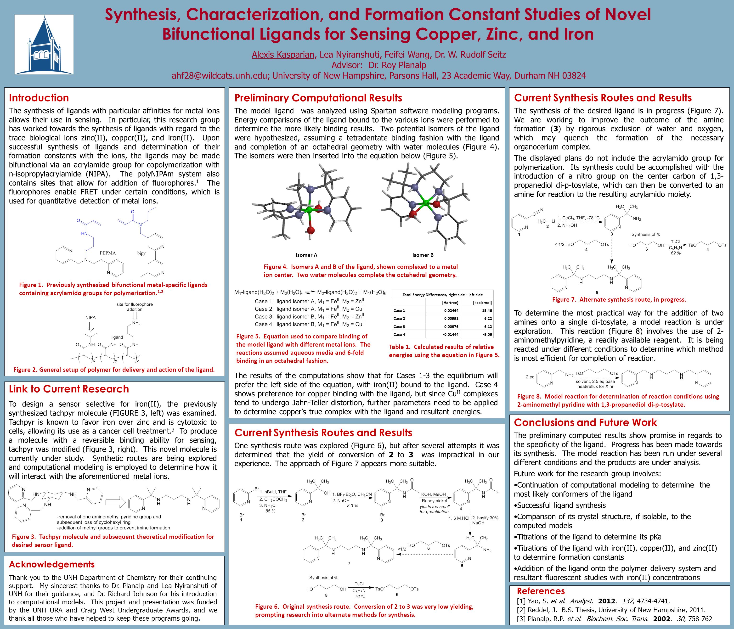 Synthesis, Characterization, and Formation Constant Studies of Novel Bifunctional Ligands for Sensing Copper, Zinc, and Iron Alexis Kasparian, Lea Nyiranshuti, Feifei Wang, Dr.