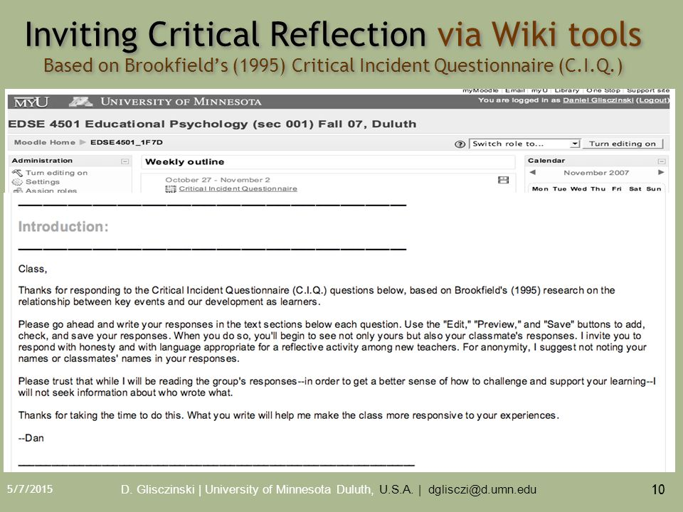 5/7/2015 10 Inviting Critical Reflection via Wiki tools Based on Brookfield's (1995) Critical Incident Questionnaire (C.I.Q.) D.