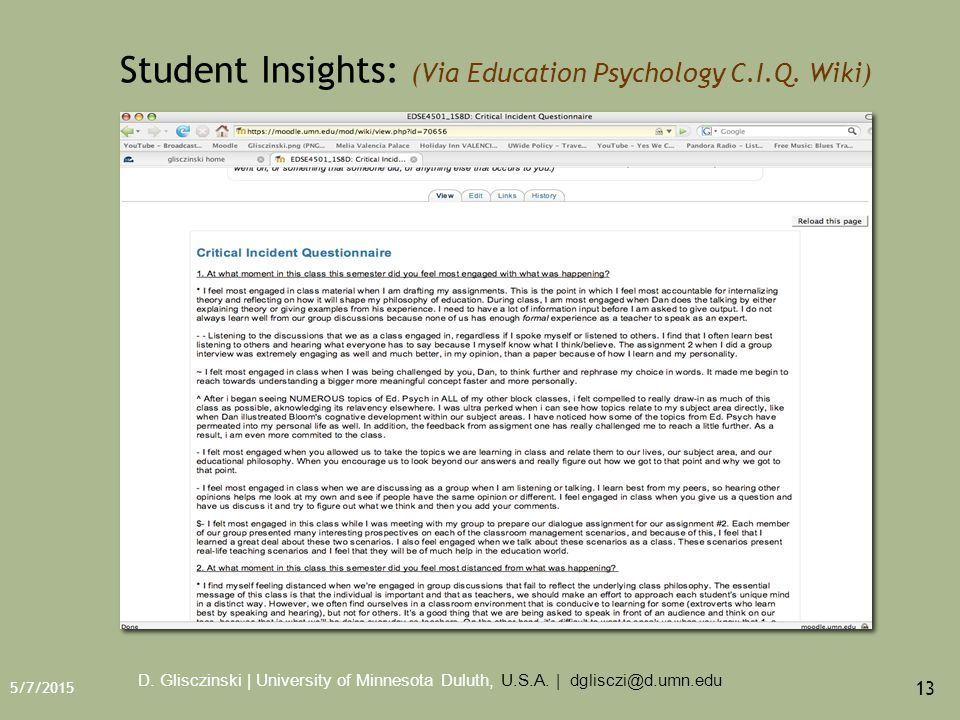 5/7/2015 13 Student Insights: (Via Education Psychology C.I.Q.