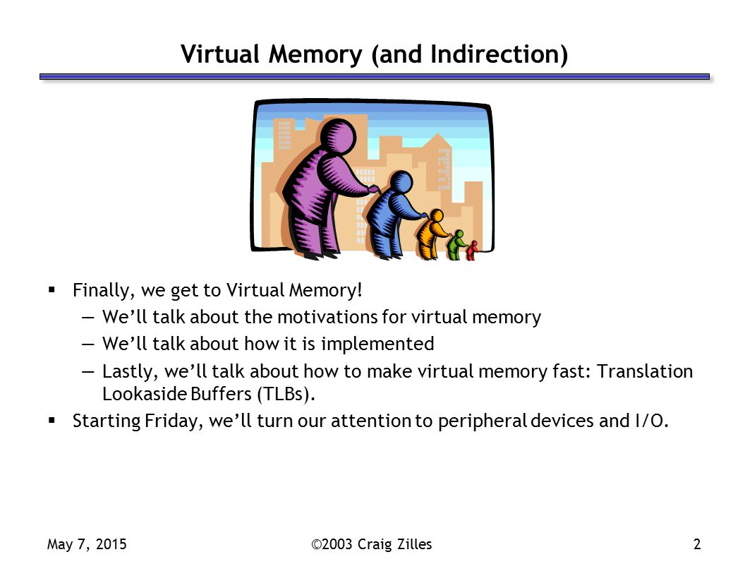May 7, 2015©2003 Craig Zilles2 Virtual Memory (and Indirection)  Finally, we get to Virtual Memory.