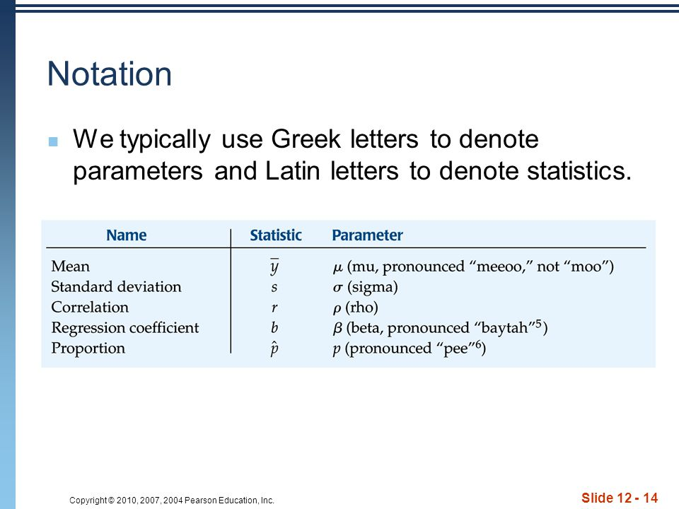 Copyright © 2010, 2007, 2004 Pearson Education, Inc. Slide 12 - 14 Notation We typically use Greek letters to denote parameters and Latin letters to d