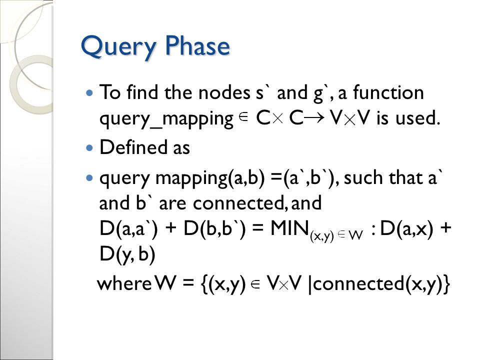 Query Phase To find the nodes s` and g`, a function query_mapping C C V V is used.