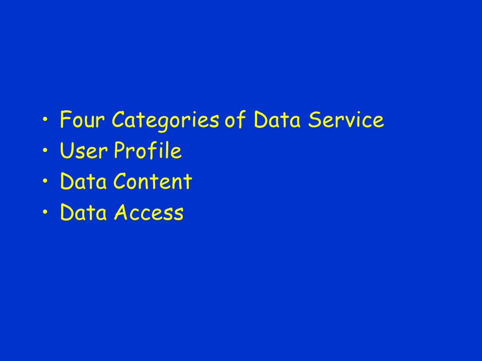 Four Categories of Data Service User Profile Data Content Data Access