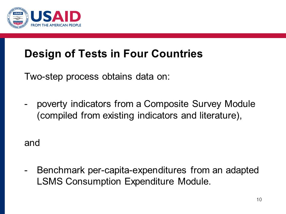 10 Design of Tests in Four Countries Two-step process obtains data on: -poverty indicators from a Composite Survey Module (compiled from existing indi