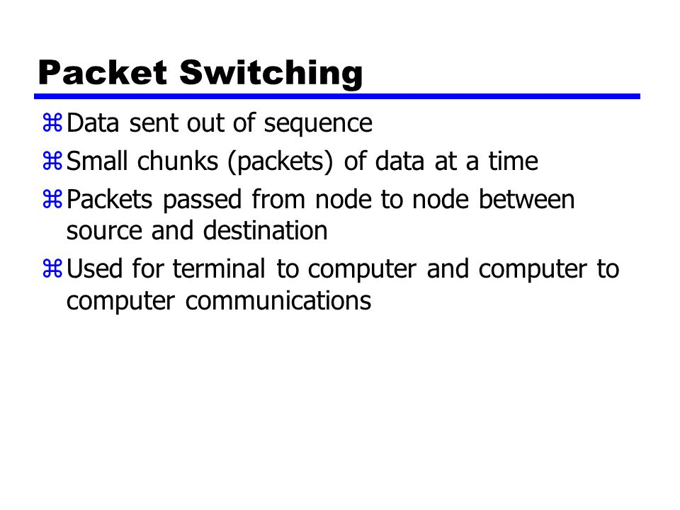 Packet Switching zData sent out of sequence zSmall chunks (packets) of data at a time zPackets passed from node to node between source and destination zUsed for terminal to computer and computer to computer communications