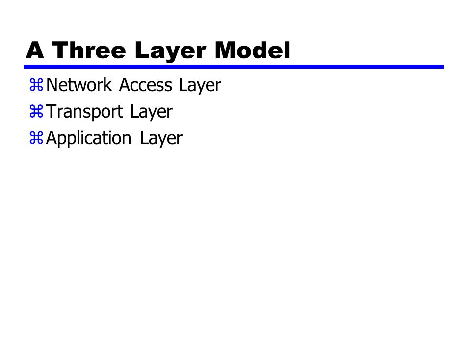 A Three Layer Model zNetwork Access Layer zTransport Layer zApplication Layer