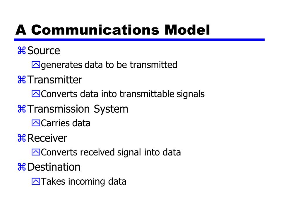 A Communications Model zSource ygenerates data to be transmitted zTransmitter yConverts data into transmittable signals zTransmission System yCarries data zReceiver yConverts received signal into data zDestination yTakes incoming data