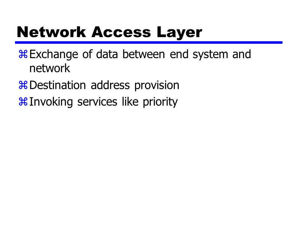 Network Access Layer zExchange of data between end system and network zDestination address provision zInvoking services like priority