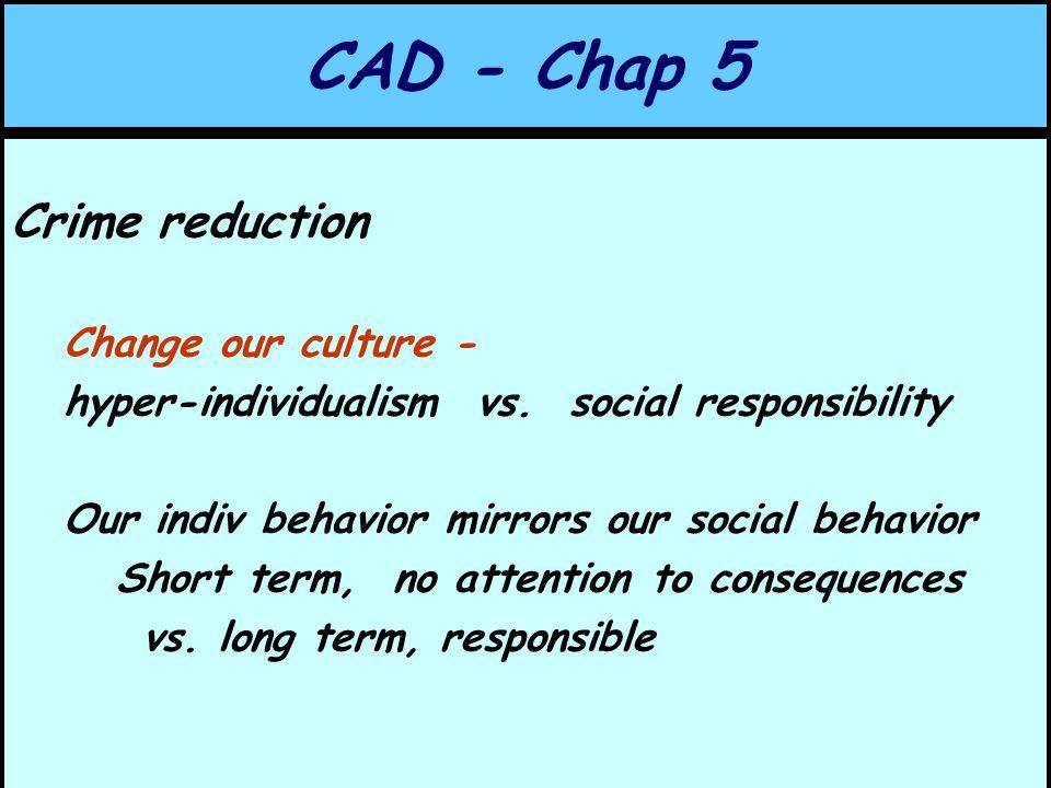 CAD - Chap 5 Crime reduction Change our culture - hyper-individualism vs.