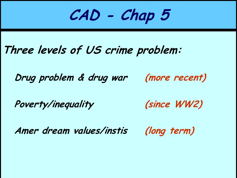 CAD - Chap 5 Three levels of US crime problem: Drug problem & drug war(more recent) Poverty/inequality (since WW2) Amer dream values/instis (long term)