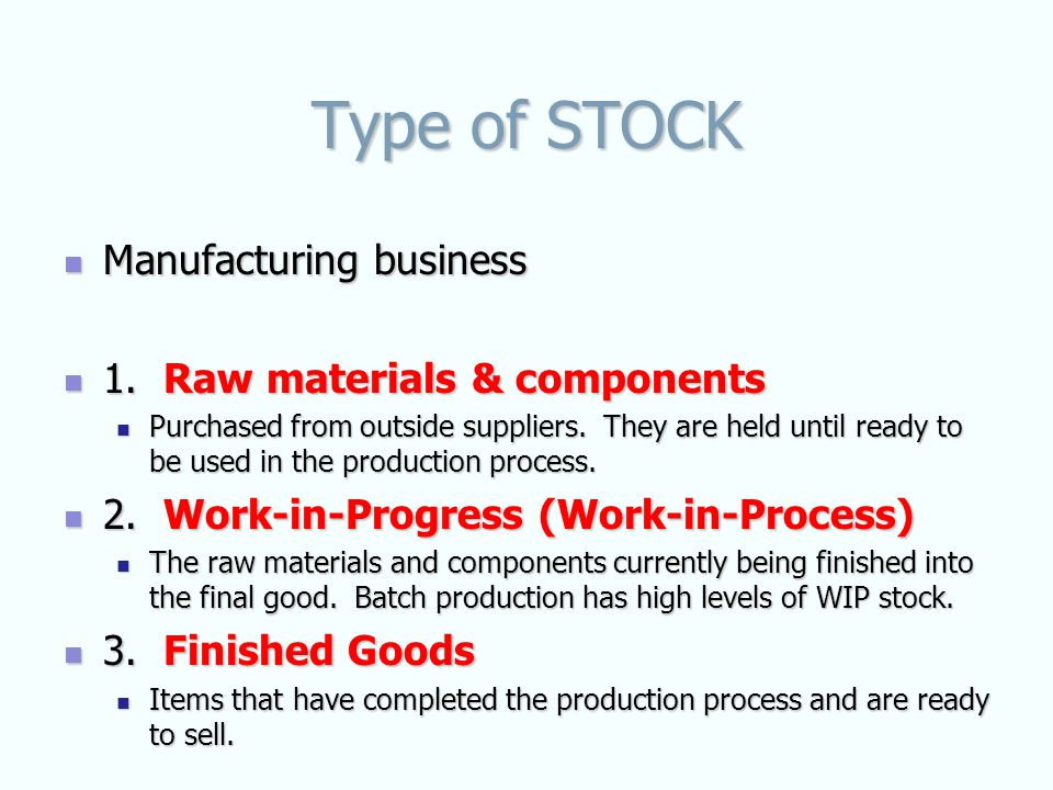 Type of STOCK Manufacturing business Manufacturing business 1.