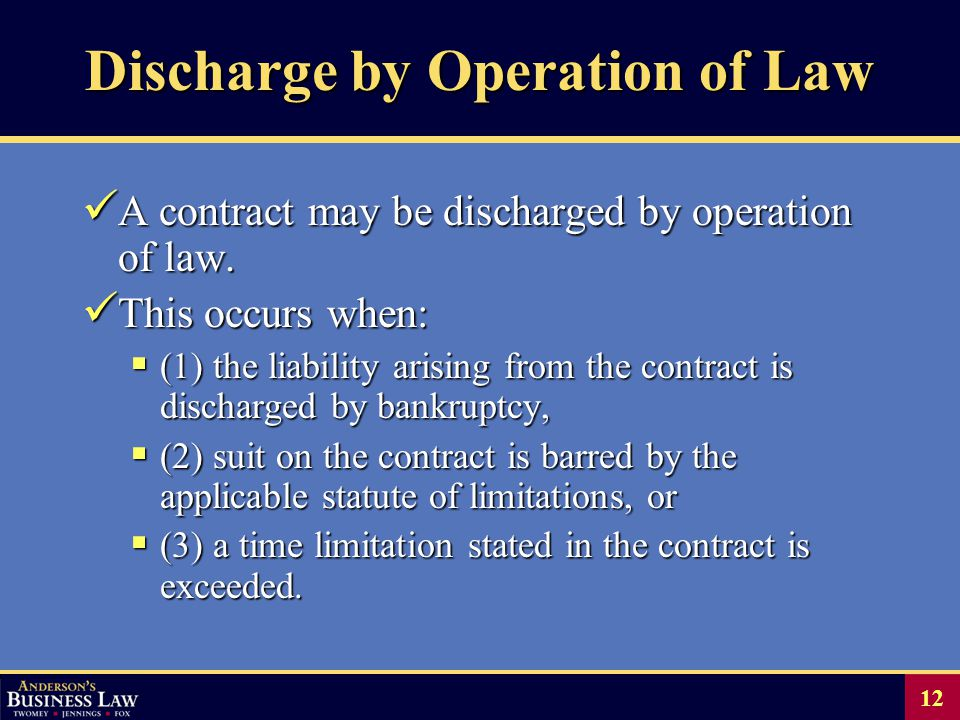 12 Discharge by Operation of Law A contract may be discharged by operation of law.
