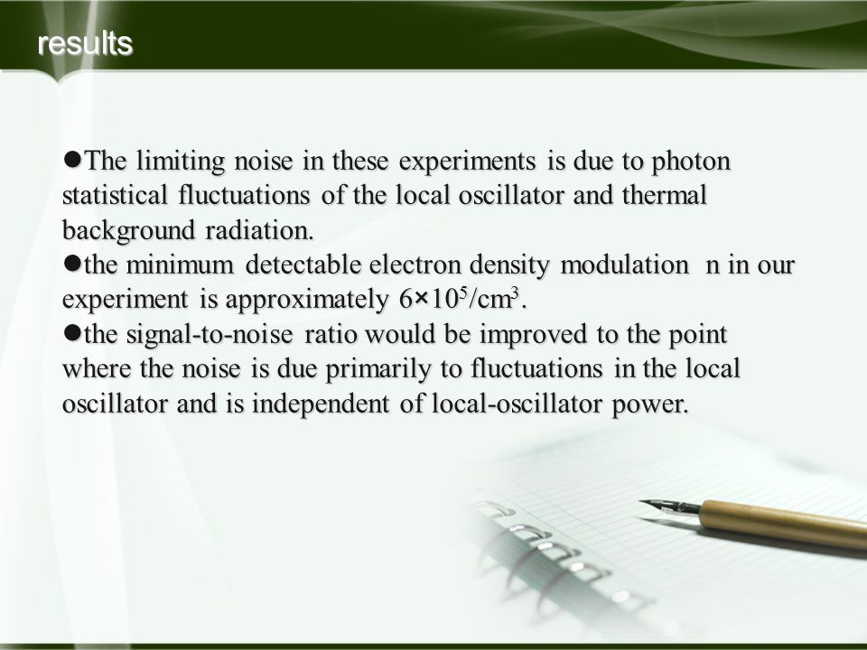 The limiting noise in these experiments is due to photon statistical fluctuations of the local oscillator and thermal background radiation. The limiti