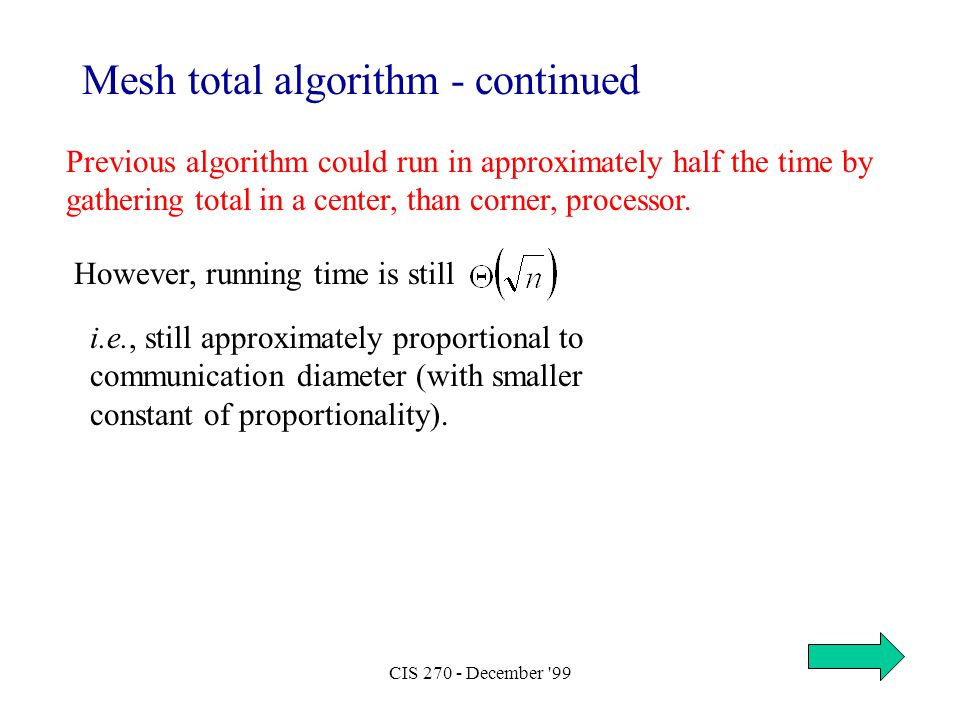 CIS 270 - December '99 Previous algorithm could run in approximately half the time by gathering total in a center, than corner, processor. Mesh total
