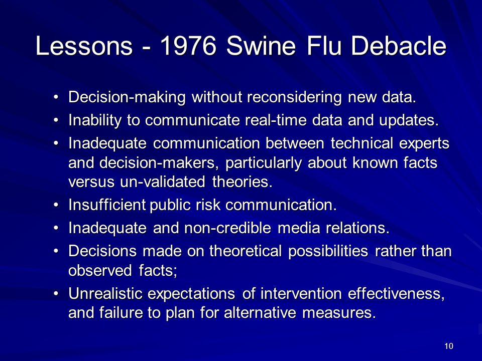 Lessons - 1976 Swine Flu Debacle Decision-making without reconsidering new data.Decision-making without reconsidering new data.