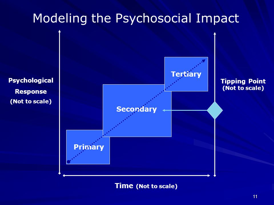 Modeling the Psychosocial Impact Primary Secondary Tertiary Time (Not to scale) Psychological Response (Not to scale) Tipping Point (Not to scale) 11