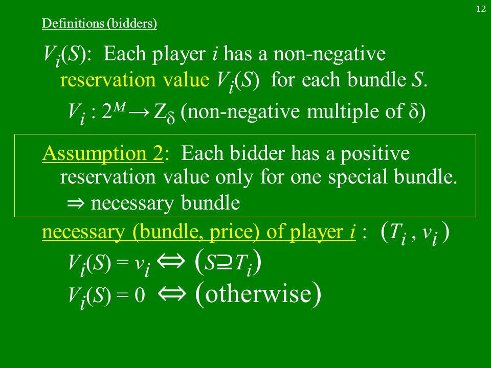 12 Definitions (bidders) V i (S): Each player i has a non-negative reservation value V i (S) for each bundle S.