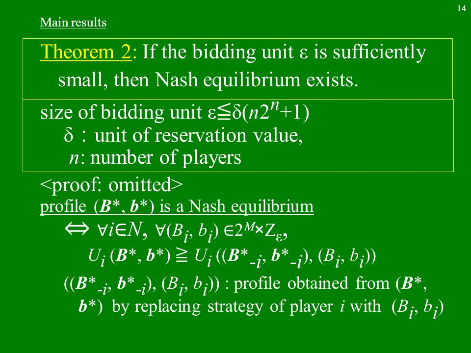 14 Main results Theorem 2: If the bidding unit ε is sufficiently small, then Nash equilibrium exists.