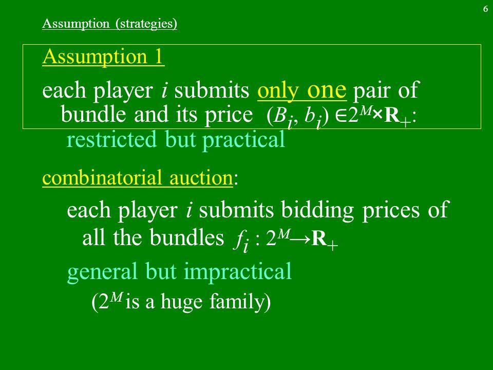 27 random selection BAP(B, b) max { b T x | Ax ≦ 1, x ∈ {0,1} N } linear relaxation max{b T x | Ax ≦ 1, x ≧ 0} dual problem min{y T x | y T A ≧ b, y ≧ 0 } y* : optimal dual solution M*={j ∈ M | y* T a i =b i } a i : i th column vector Lemma: M* is the set of passed and questionable bidders.