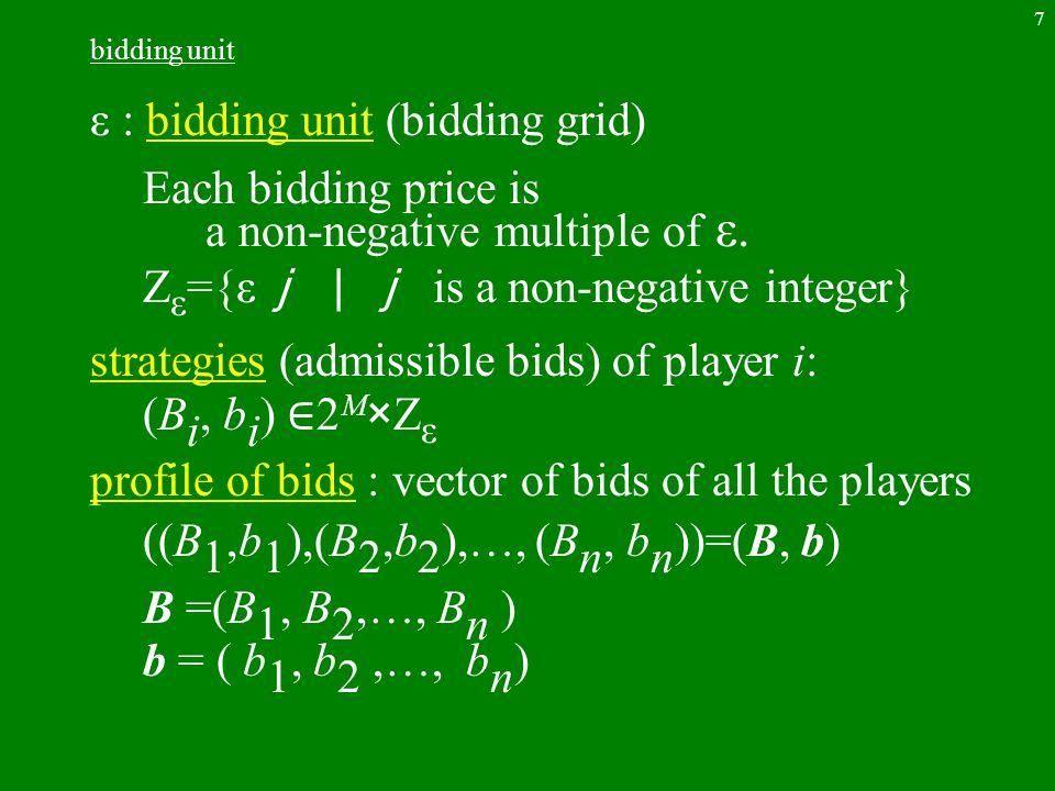 7 bidding unit ε : bidding unit (bidding grid) Each bidding price is a non-negative multiple of ε. Z ε ={ε j |j is a non-negative integer} strategies