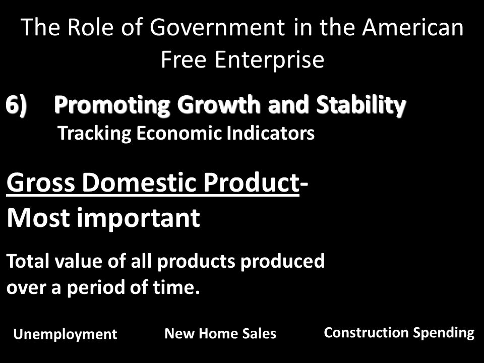 6)Promoting Growth and Stability Tracking Economic Indicators Gross Domestic Product- Most important Total value of all products produced over a perio