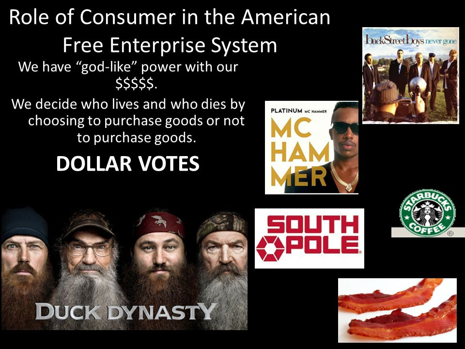 "Role of Consumer in the American Free Enterprise System We have ""god-like"" power with our $$$$$. We decide who lives and who dies by choosing to purch"