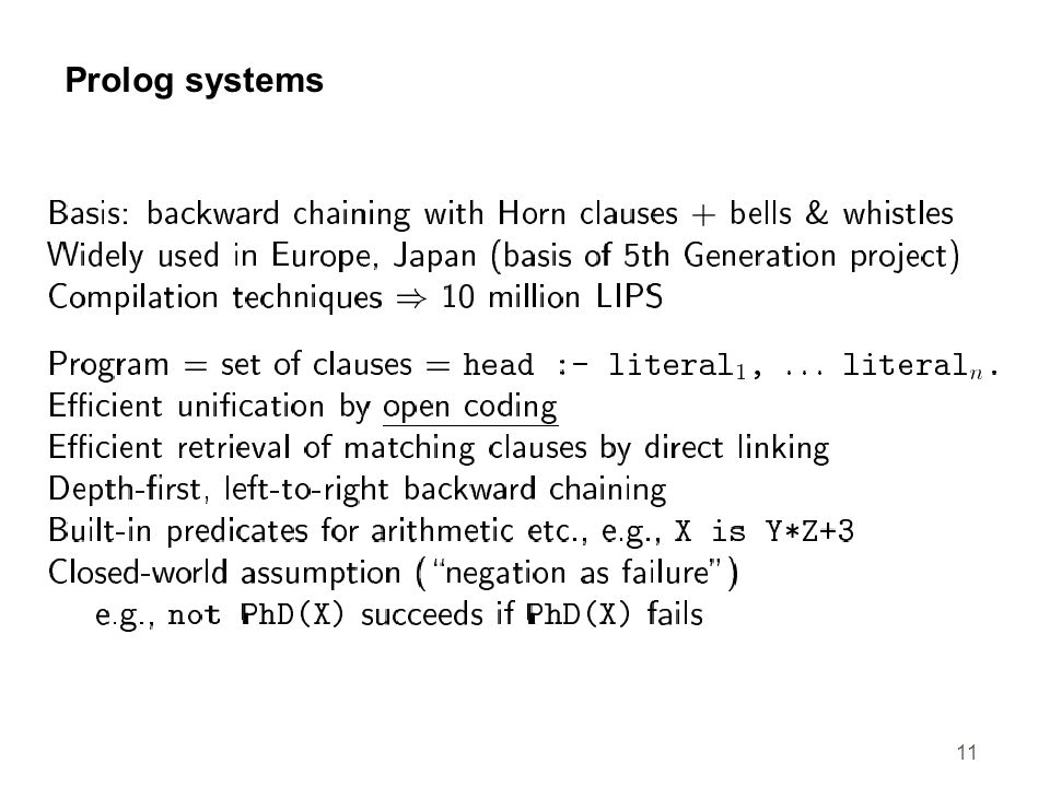 11 Prolog systems