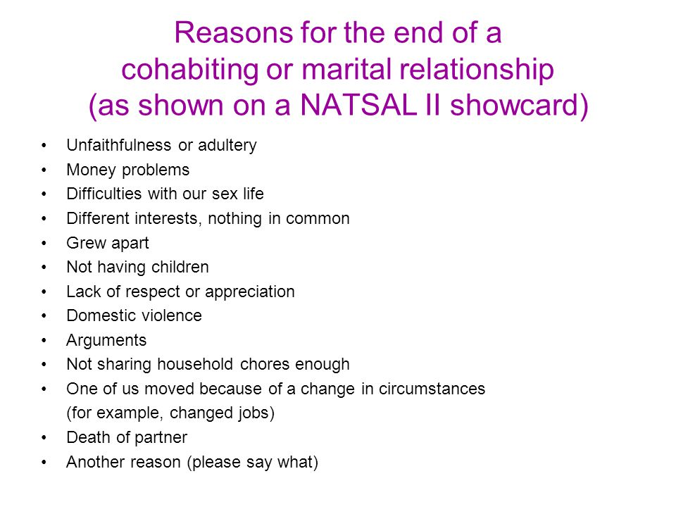 Reasons for the end of a cohabiting or marital relationship (as shown on a NATSAL II showcard) Unfaithfulness or adultery Money problems Difficulties