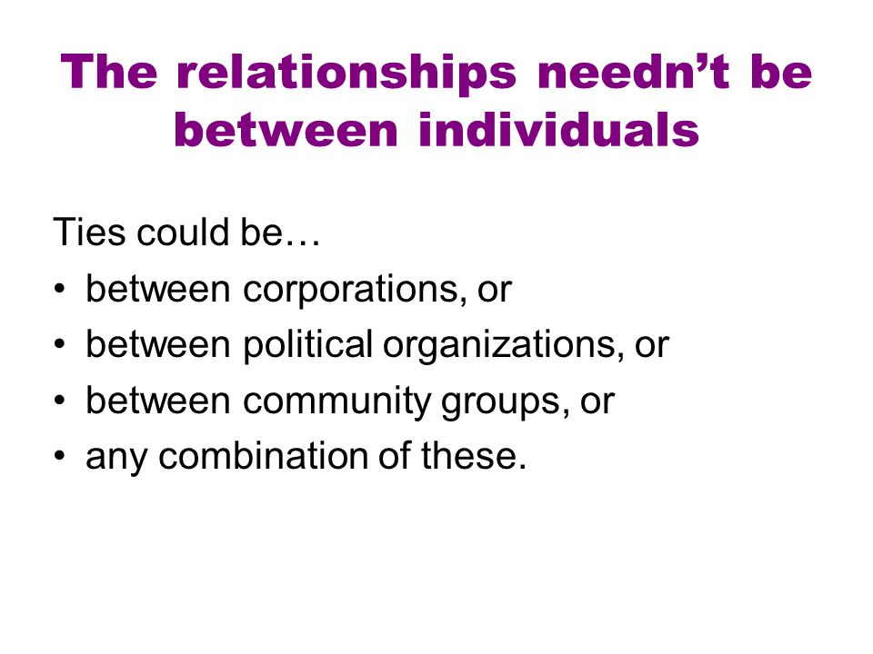 The relationships needn't be between individuals Ties could be… between corporations, or between political organizations, or between community groups,