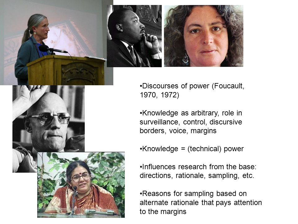 Discourses of power (Foucault, 1970, 1972) Knowledge as arbitrary, role in surveillance, control, discursive borders, voice, margins Knowledge = (technical) power Influences research from the base: directions, rationale, sampling, etc.
