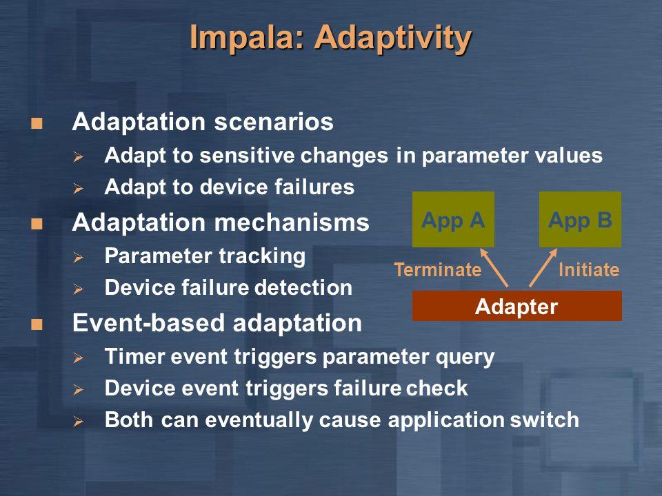 Impala: Adaptivity Adaptation scenarios  Adapt to sensitive changes in parameter values  Adapt to device failures Adaptation mechanisms  Parameter