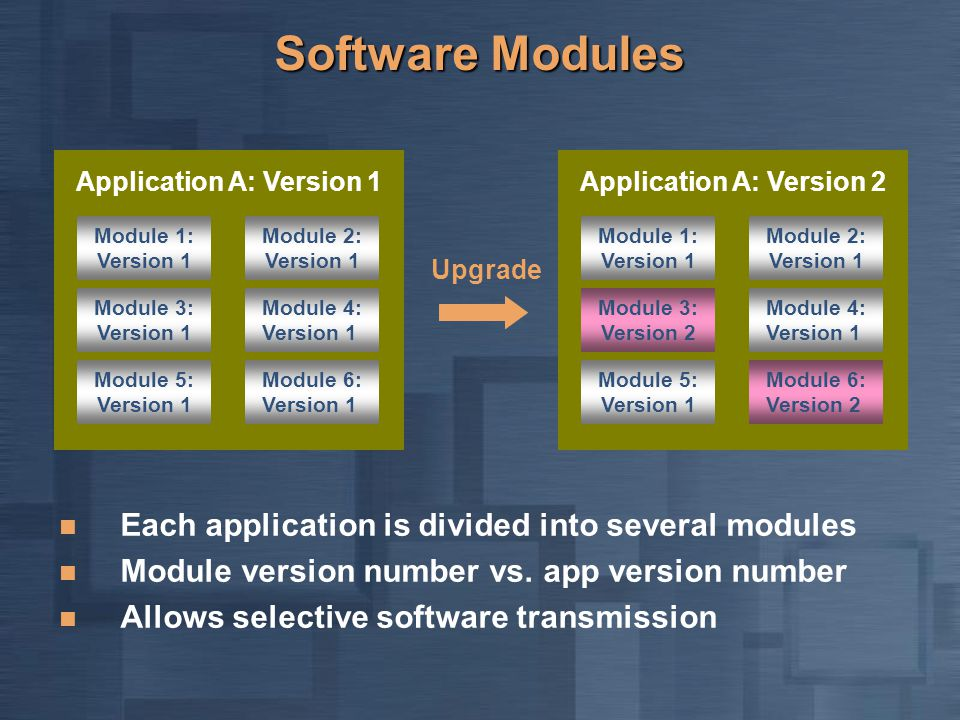 Software Modules Each application is divided into several modules Module version number vs.
