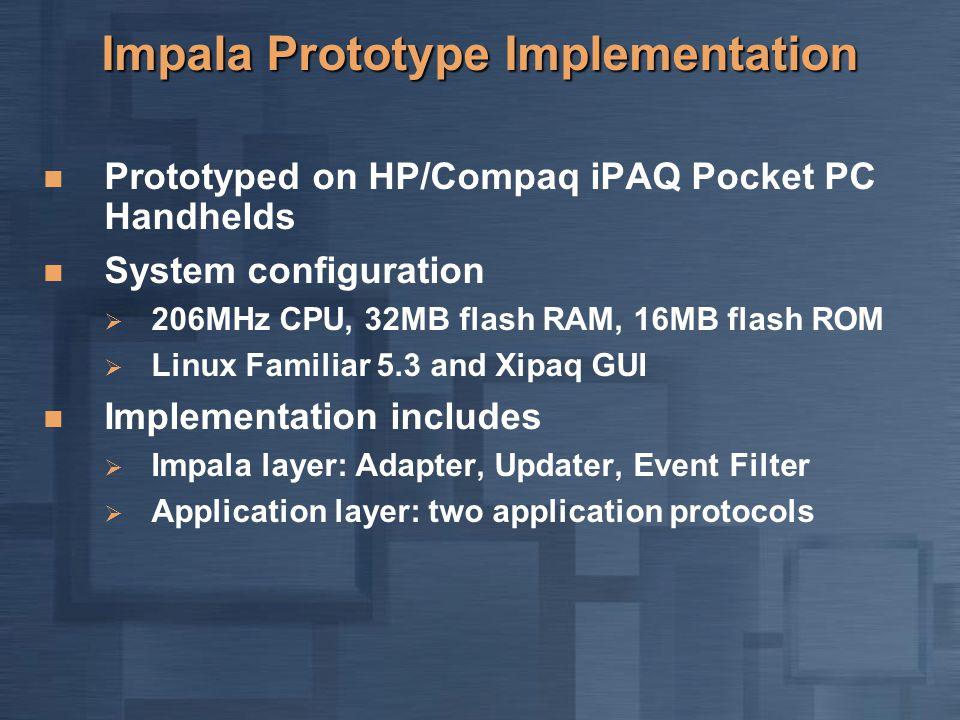 Impala Prototype Implementation Prototyped on HP/Compaq iPAQ Pocket PC Handhelds System configuration  206MHz CPU, 32MB flash RAM, 16MB flash ROM  L