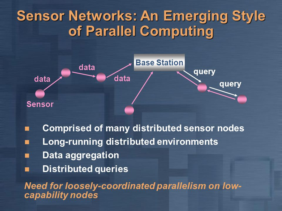 Sensor Networks: An Emerging Style of Parallel Computing Comprised of many distributed sensor nodes Long-running distributed environments Data aggrega