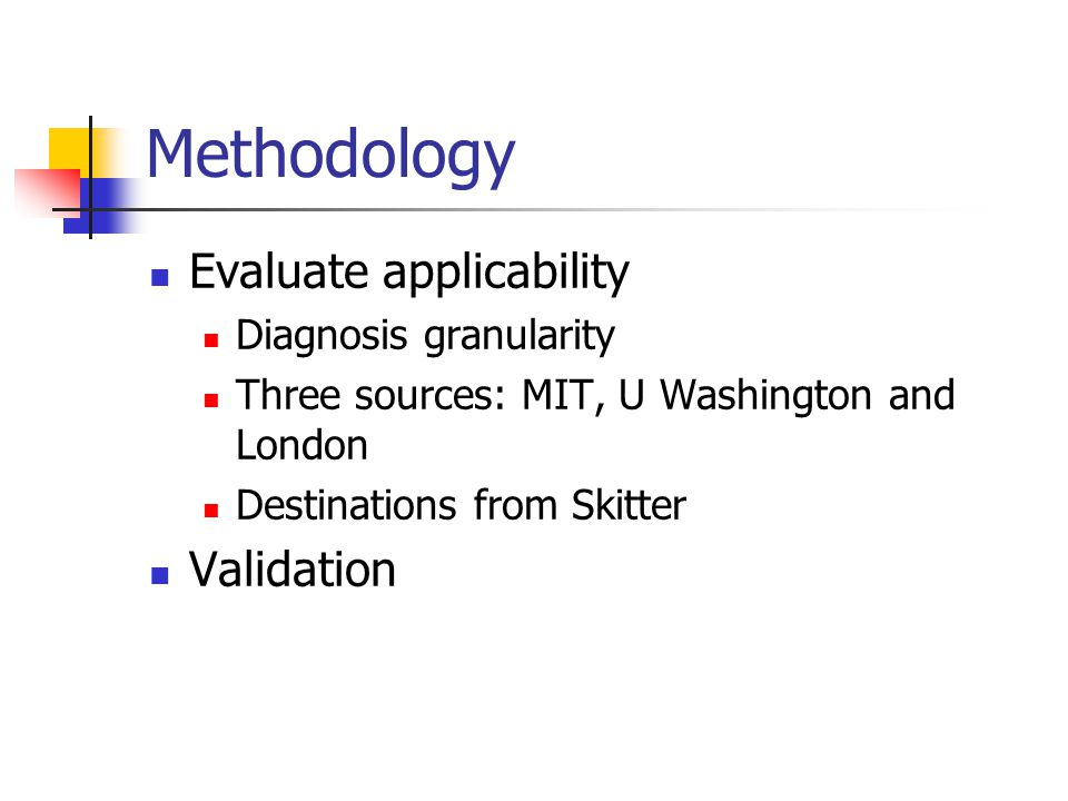 Methodology Evaluate applicability Diagnosis granularity Three sources: MIT, U Washington and London Destinations from Skitter Validation