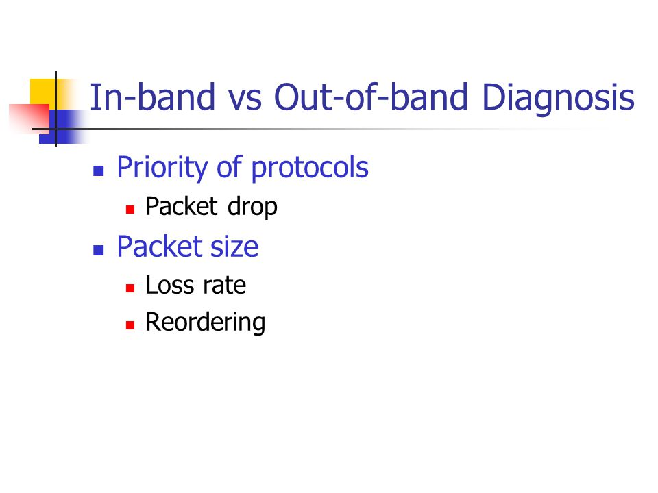 In-band vs Out-of-band Diagnosis Priority of protocols Packet drop Packet size Loss rate Reordering