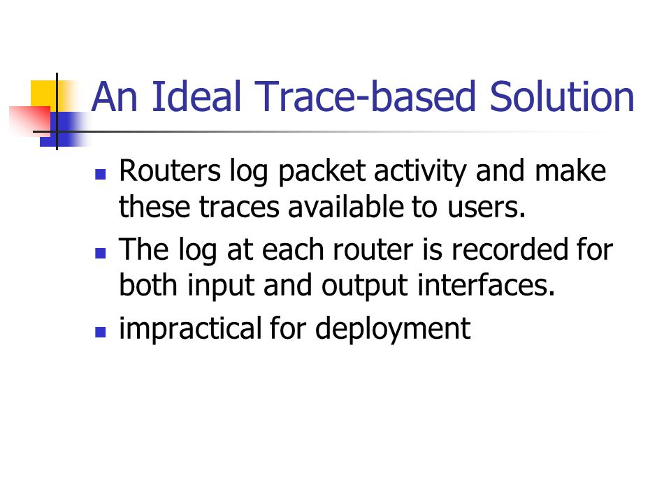 Packet-based Solutions Complete Embedding Each router along the path records information into each packet that it forwards.