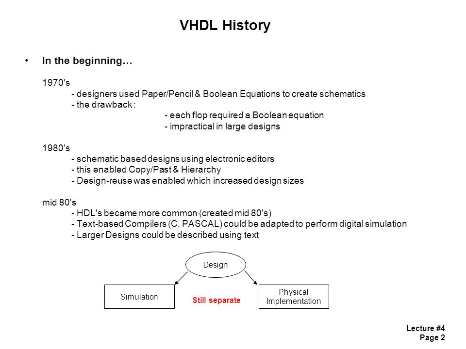 Lecture #4 Page 2 VHDL History In the beginning… 1970's - designers used Paper/Pencil & Boolean Equations to create schematics - the drawback : - each