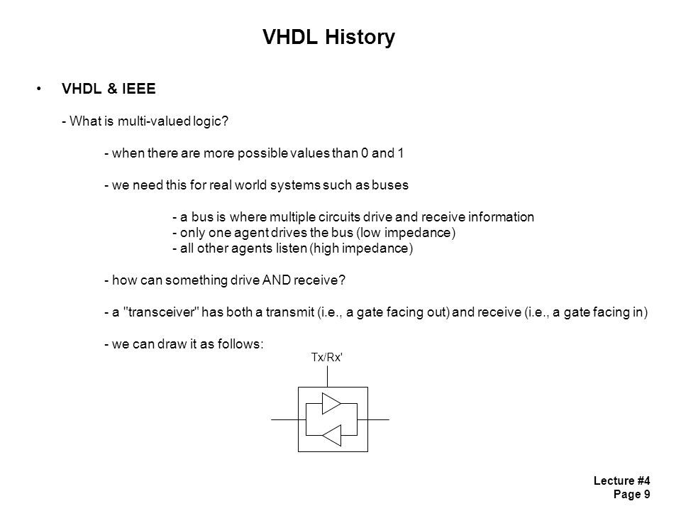 Lecture #4 Page 9 VHDL History VHDL & IEEE - What is multi-valued logic.