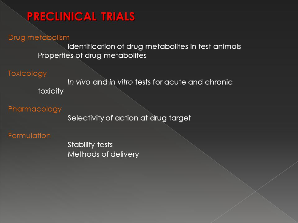 Drug metabolism Identification of drug metabolites in test animals Properties of drug metabolites Toxicology In vivo and in vitro tests for acute and chronic toxicity Pharmacology Selectivity of action at drug target Formulation Stability tests Methods of delivery PRECLINICAL TRIALS PRECLINICAL TRIALS