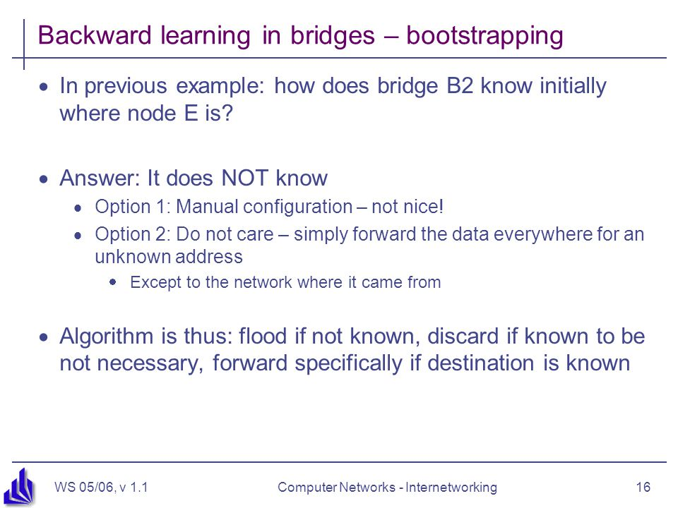 WS 05/06, v 1.1Computer Networks - Internetworking16 Backward learning in bridges – bootstrapping  In previous example: how does bridge B2 know initially where node E is.