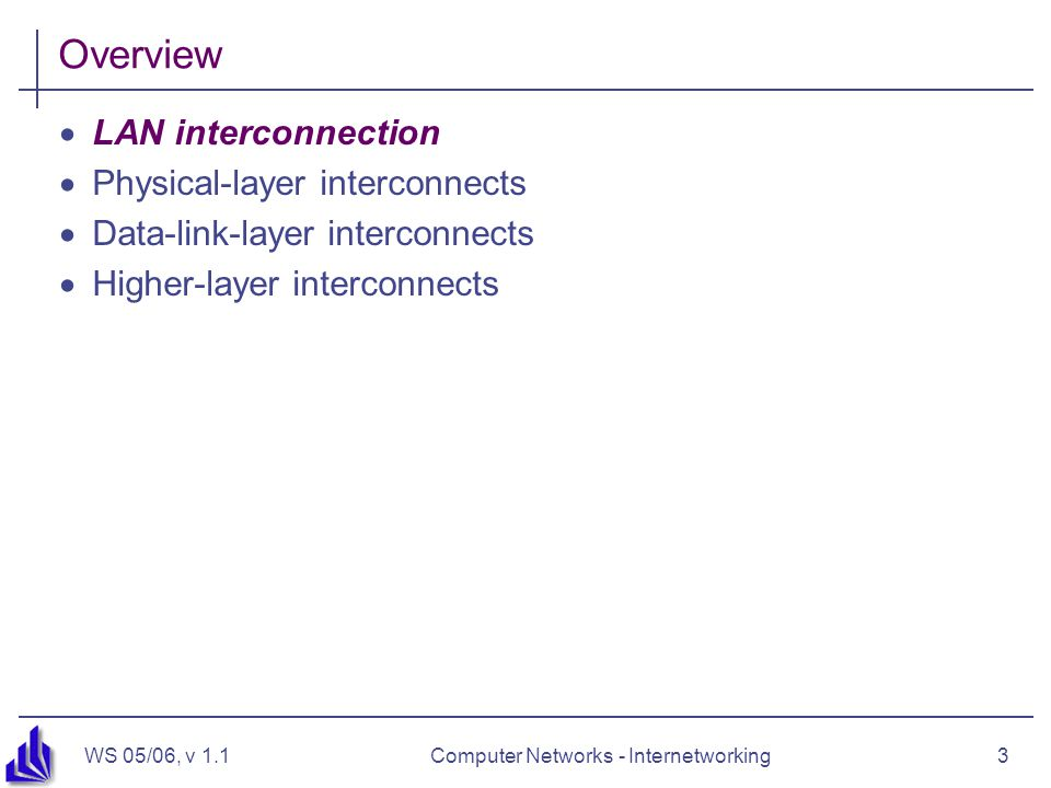 WS 05/06, v 1.1Computer Networks - Internetworking3 Overview  LAN interconnection  Physical-layer interconnects  Data-link-layer interconnects  Higher-layer interconnects