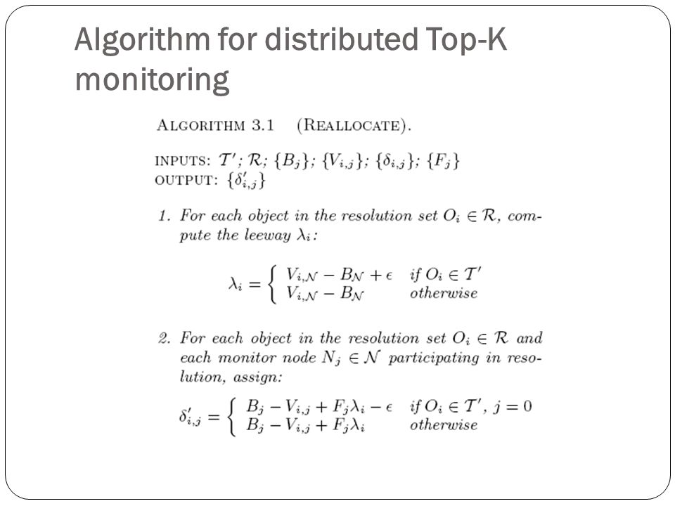 Algorithm for distributed Top-K monitoring