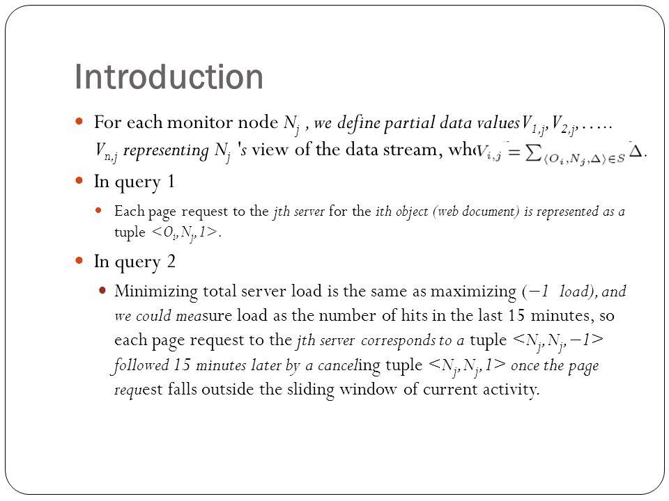 Introduction For each monitor node N j, we define partial data values V 1,j,V 2,j,…..
